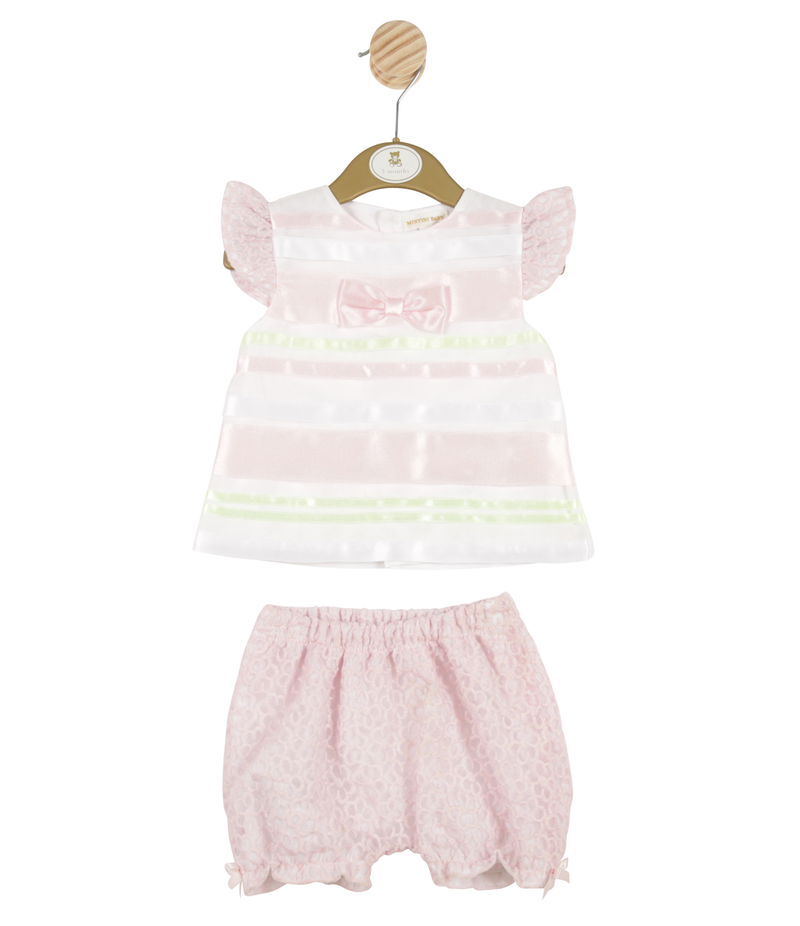 MB3152 | Girls Pink 2 Piece Top and Bloomer Set