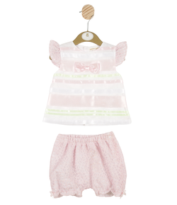 MB3152A | Girls Pink 2 Piece Top and Bloomer Set