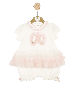 MB3177-  Girls White Romper with Frill Skirt and Frill Pattern