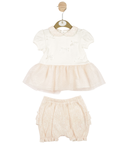 MB3189 | Girls Ecru Peach Smock Dress and Bloomers