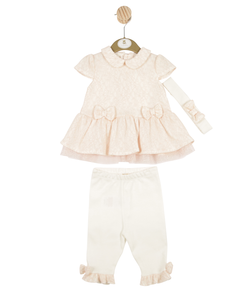 MB3190A | Peach Pink Smock Dress Leggings and Headband Set