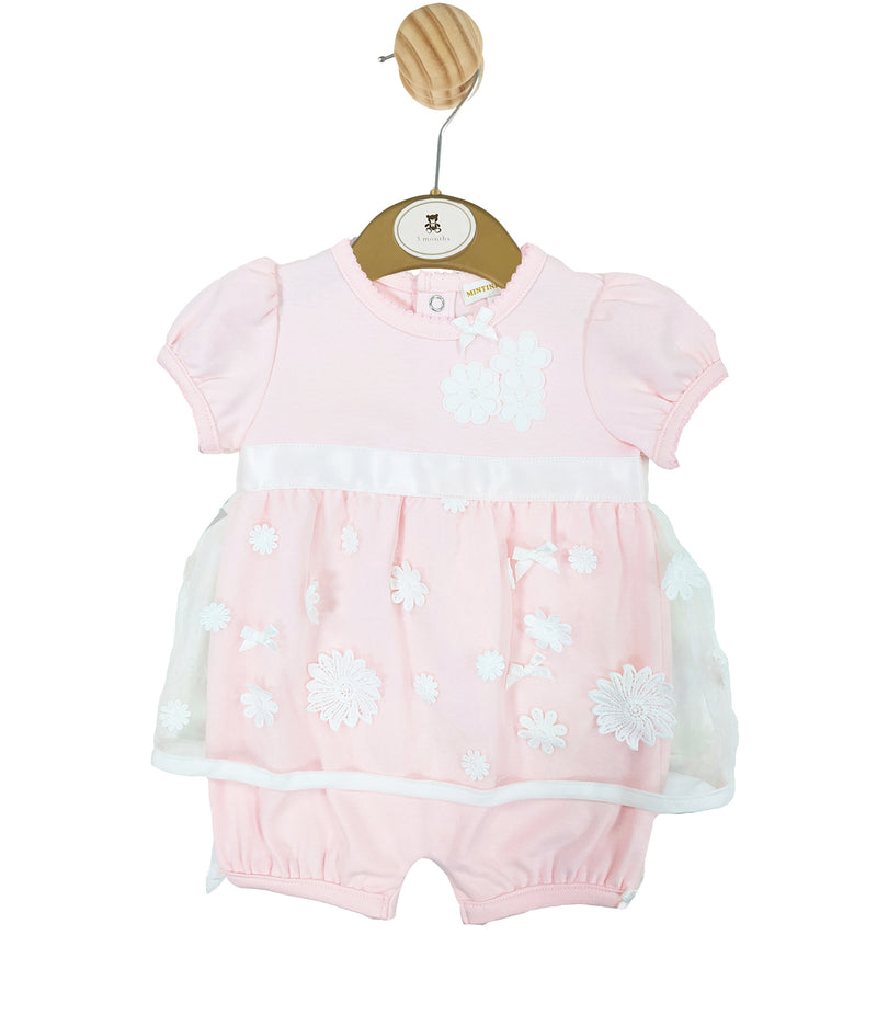 MB3210 | Girls Pink Romper with White Flower Petals