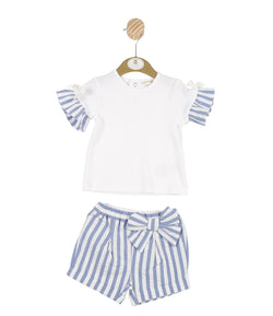 MB3217 | Girls Blue Striped T-shirt and Shorts