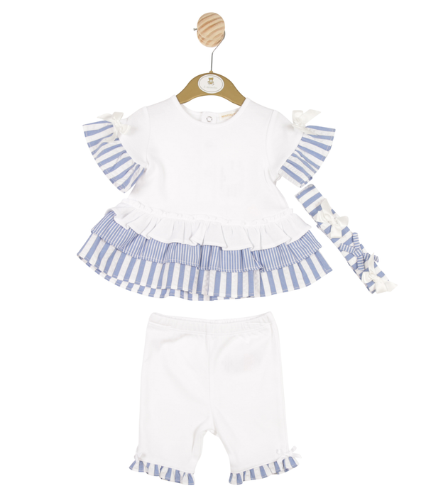 MB3221A | Girls White and Blue Striped Dress Legging and Headband Set