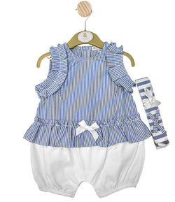 MB3222A -  Girls Blue and White Striped Romper with Headband