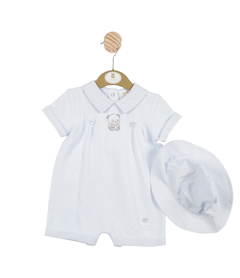 MB3234 | Boys Romper and Hat Set with Bear Theme