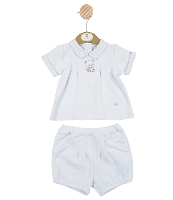 MB3235A | Boys Blue T-Shirt and Shorts Set with Bear Theme
