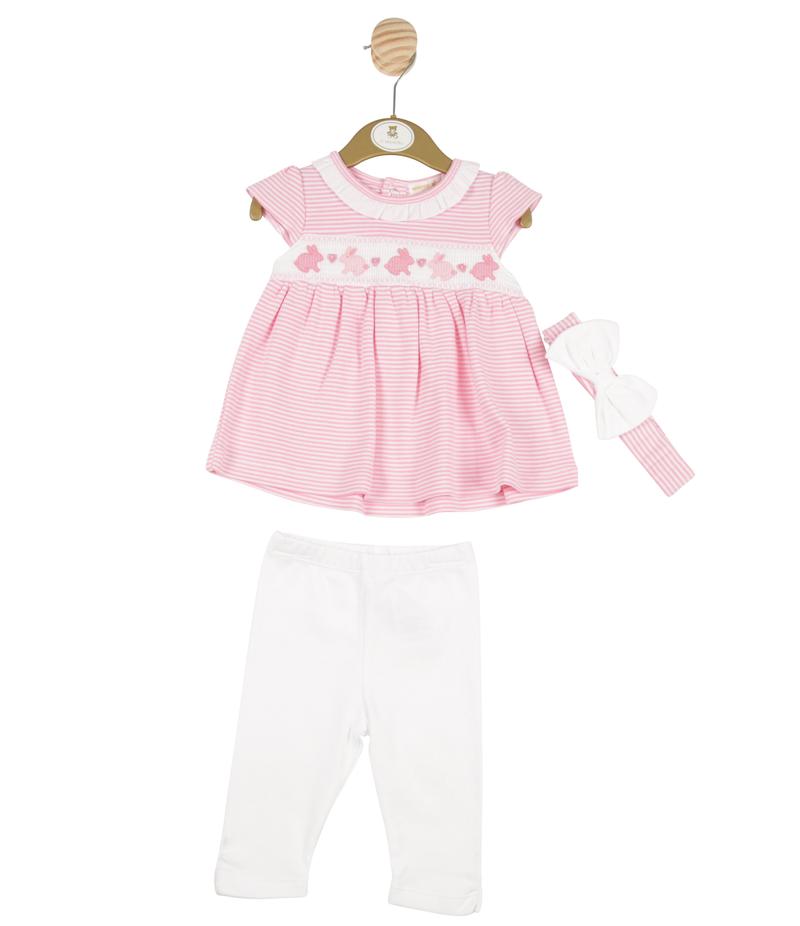 MB3237A | Girls Pink Dress, Legging and Headband Set