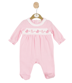 MB3238 |  Girls Pink Striped All-in-one with Bunny Theme