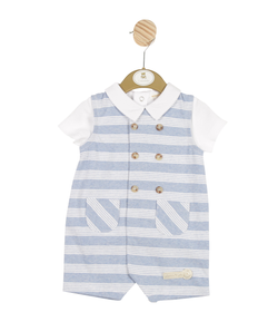 MB3242 - Delivery January | Boys Blue Striped T-Shirt and Romper Set