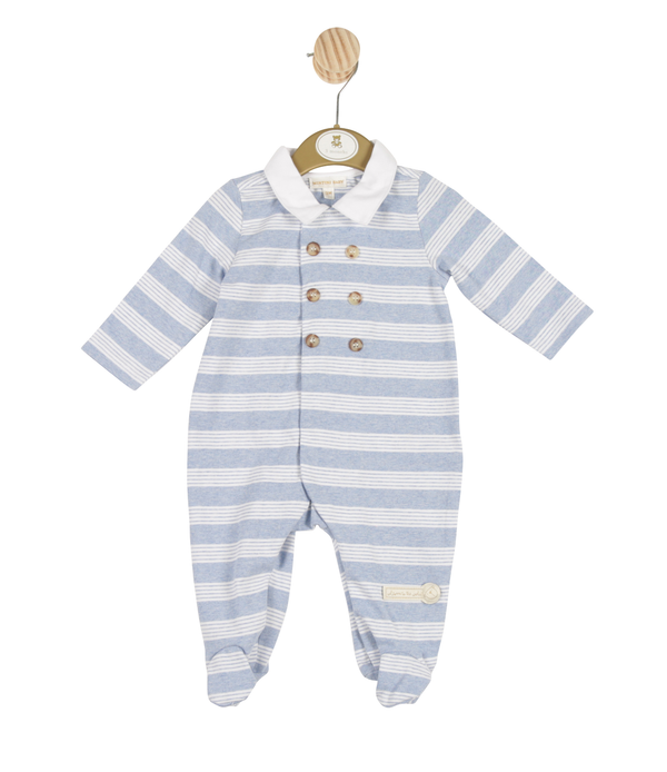 MB3243 | Boys Blue Striped All-in-one with Front Buttons