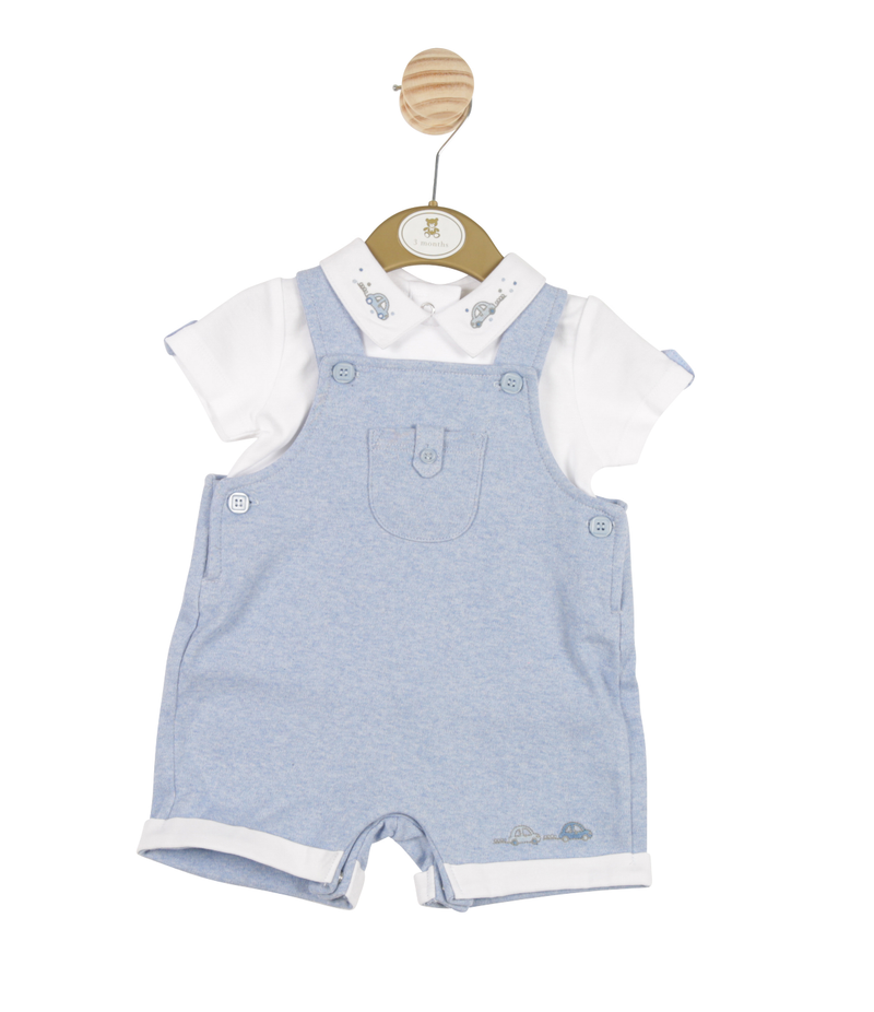 MB3247A - Delivery January | Boys Blue T-shirt and Bib Shorts set with Train theme