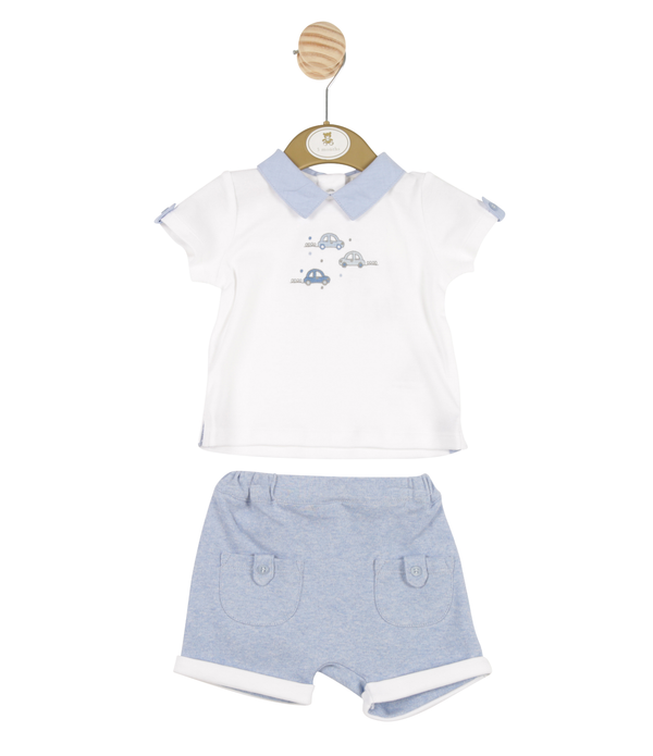 MB3248 | Boys White Shirt and Blue Shorts with Car Theme