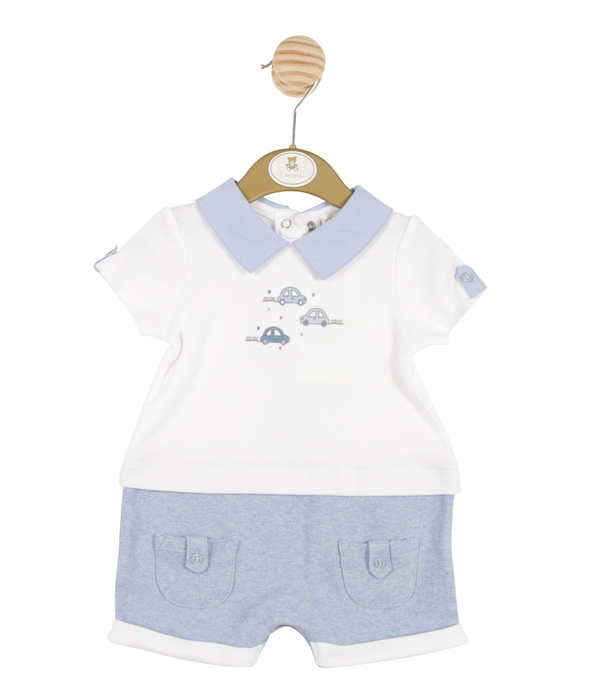 MB3250 | Boys White and Blue Romper with Car Theme