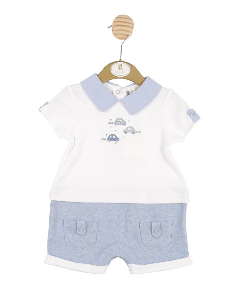 MB3250 - Delivery Janaury | Boys White and Blue Romper with Car Theme