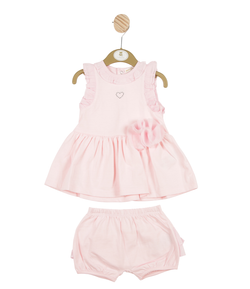 MB3253 | Girls Pink Dress and Bloomer Set with Roses and Hearts
