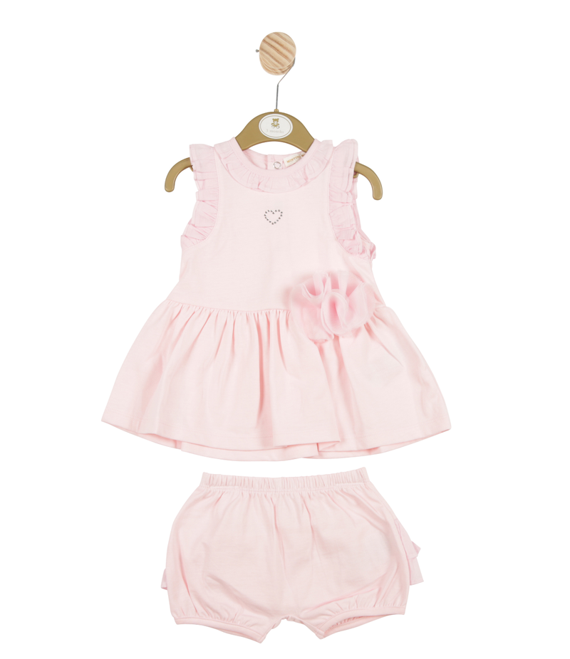 MB3253A -  Girls Pink Dress and Bloomer Set with Roses and Hearts