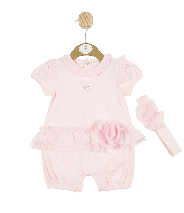 MB3255A | Girls Pink Romper with Heart Theme and Headband