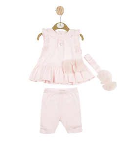 MB3256 -  Girls Pink Dress, Leggings and Headband Set