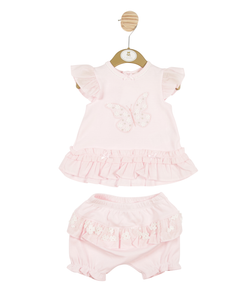 MB3269A -  Girls Pink T-Shirt and Bloomer Set with Butterfly Theme