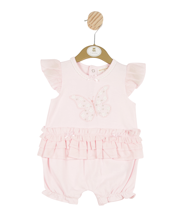 MB3270 | Girls Pink Romper with Butterfly Theme