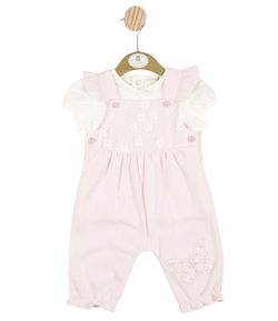MB3271 | Girls Pink Floral Dungaree with White T-Shirt
