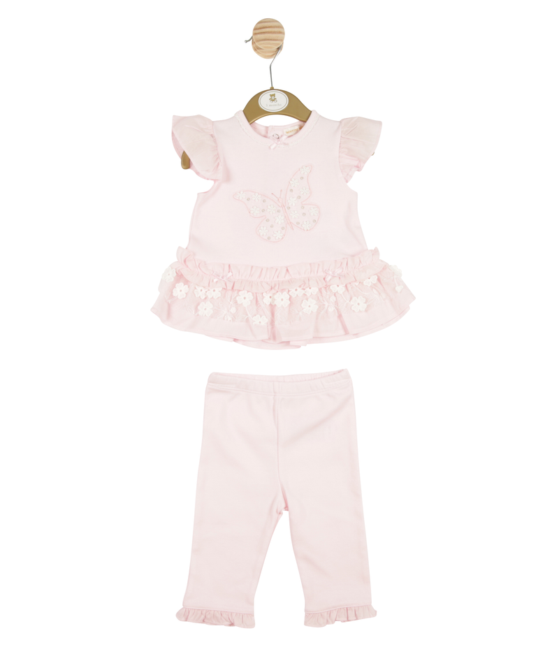 MB3272 -  Girls Pink Dress and Legging Set with Butterfly Theme