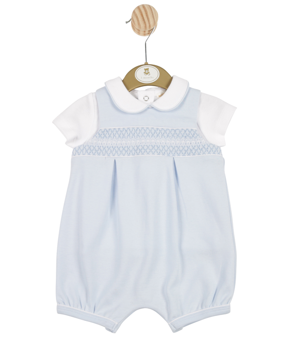 MB3282 | Boys White T-Shirt and Blue Romper Set