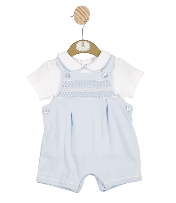 MB3285 | Boys Blue Bib Shorts and White T-Shirt Set