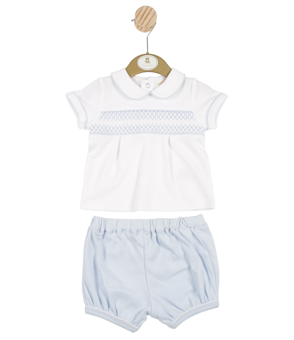 MB3286 | Boys White Shirt and Blue Shorts Set