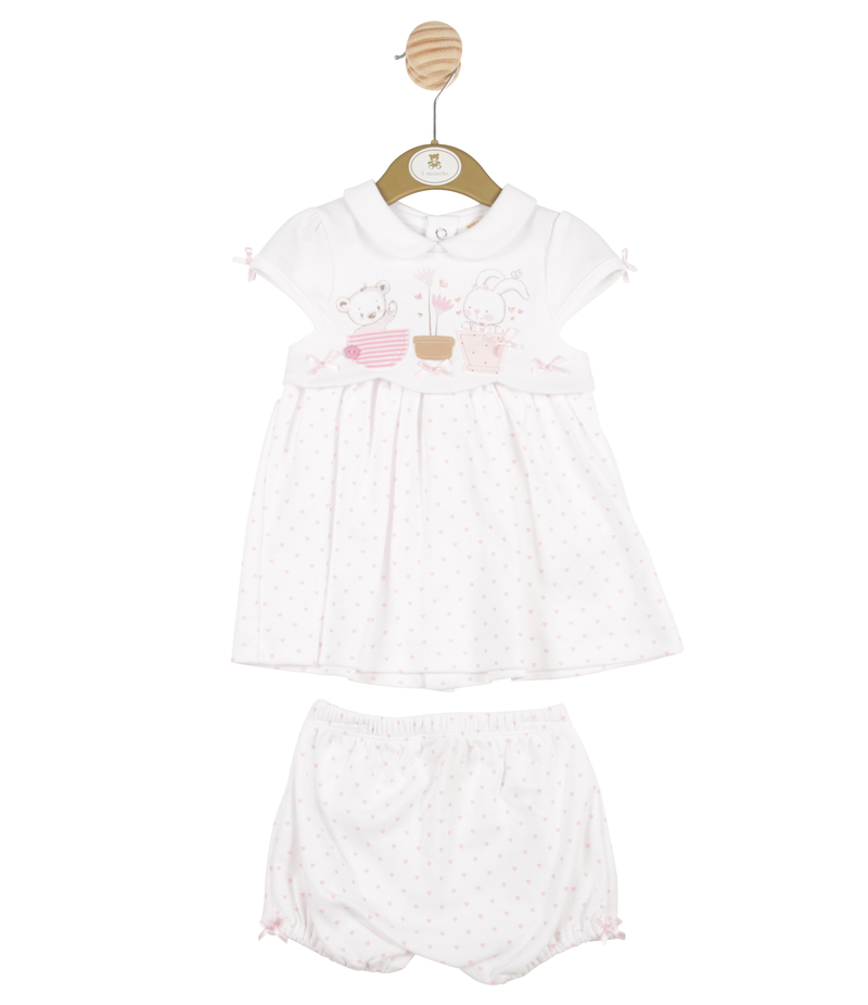 MB3288 | Girls White Bunny and Pink Love Hearts Dress and Bloomer