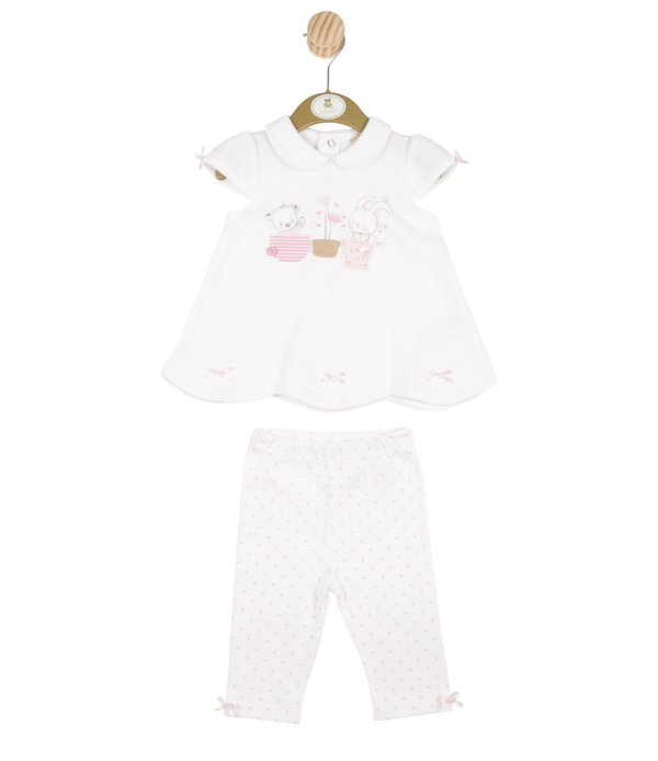 MB3290 - Girls White Bunny Dress and Love Heart Leggings Set
