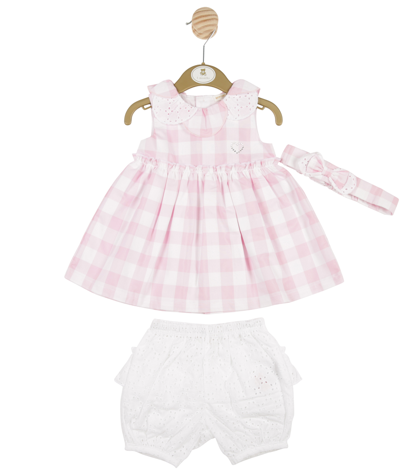 MB3300A | Girls Pink 3 Piece Dress, Leggings and Headband