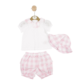 MB3302 | Girls White and Pink 3 Piece Blouse, Shorts and Hat Set