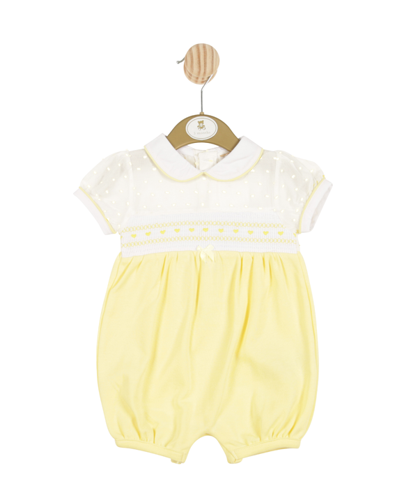 MB3304 | Girls Yellow Spotted Romper With Collar Trims - In Stock