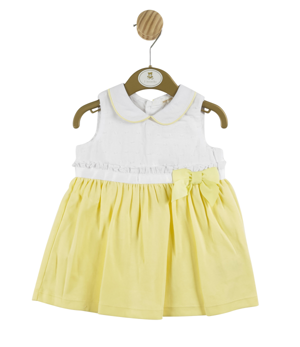 MB3307 | Girls Yellow Dress with Front Bow and Collar Trim