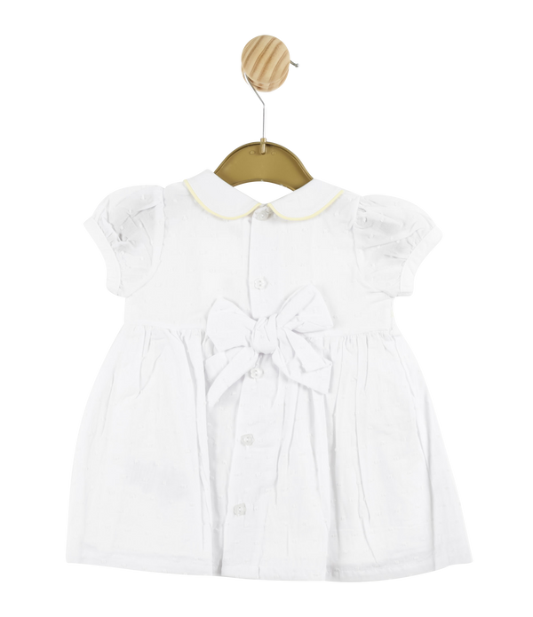 MB3309A | Girls White Spotted  Dress with Yellow Detailing