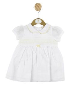 MB3309 | Girls White Spotted  Dress with Yellow Detailing