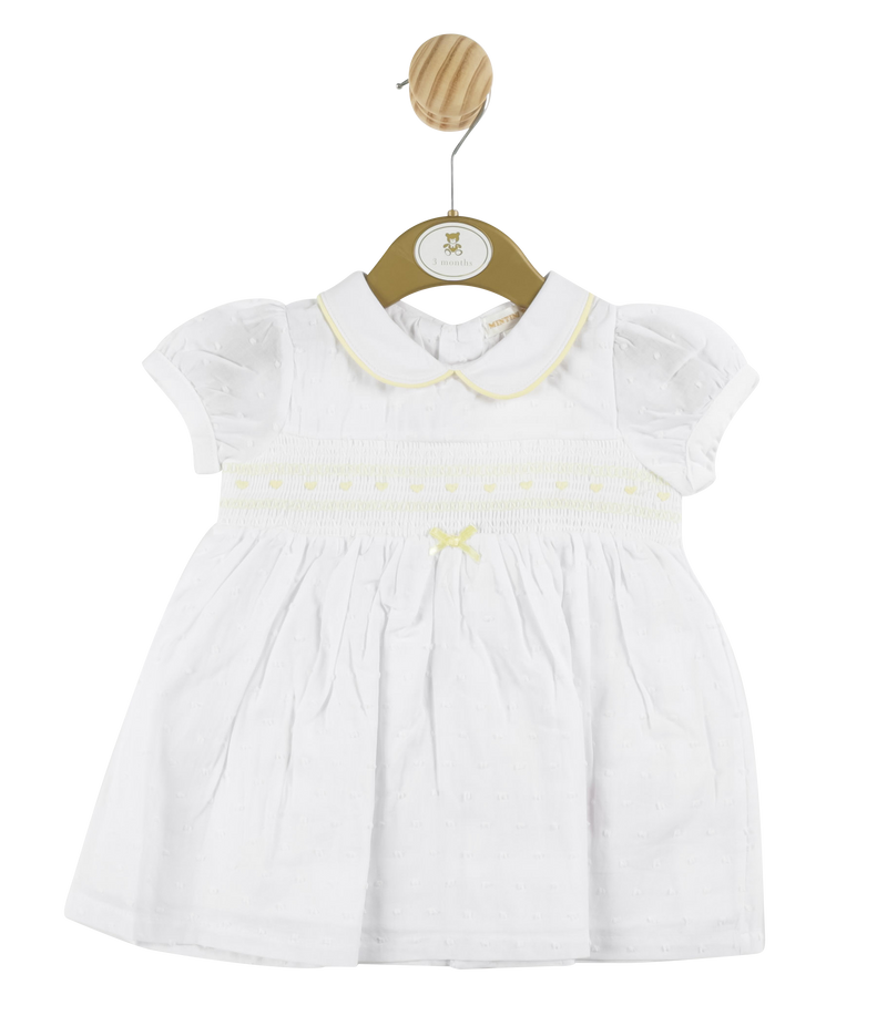 MB3309 - Girls White Spotted  Dress with Yellow Detailing