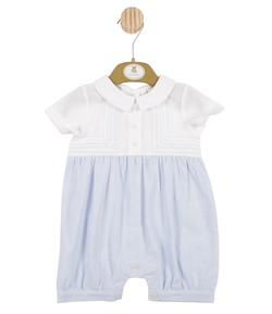 MB3310 | Boys White and Blue Romper with Stitching Pattern