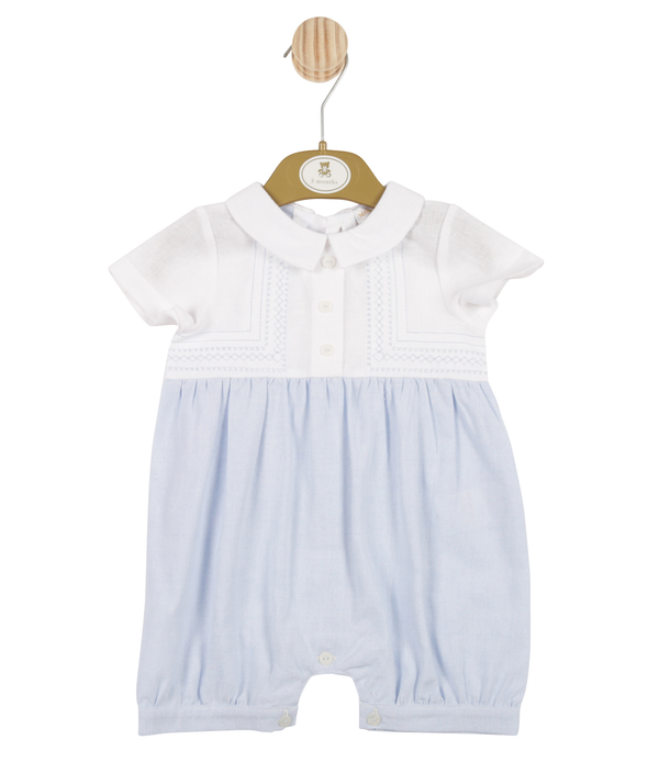MB3310A | Boys White and Blue Romper with Stitching Pattern