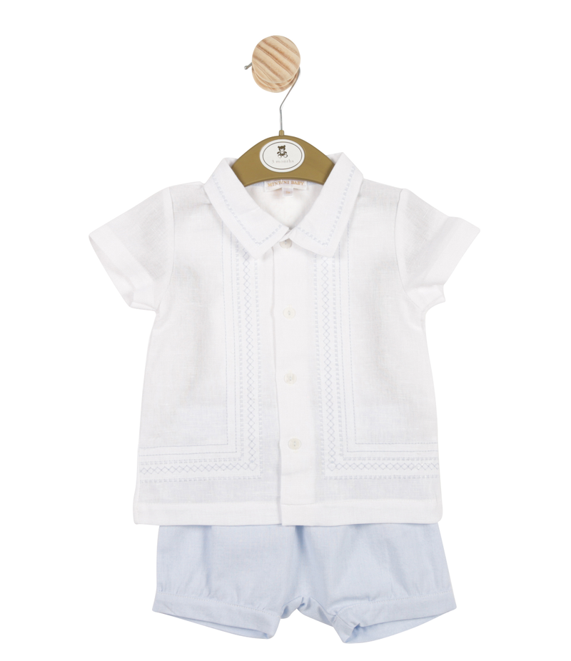 MB3311A | Boys White Shirt and Blue Shorts Set