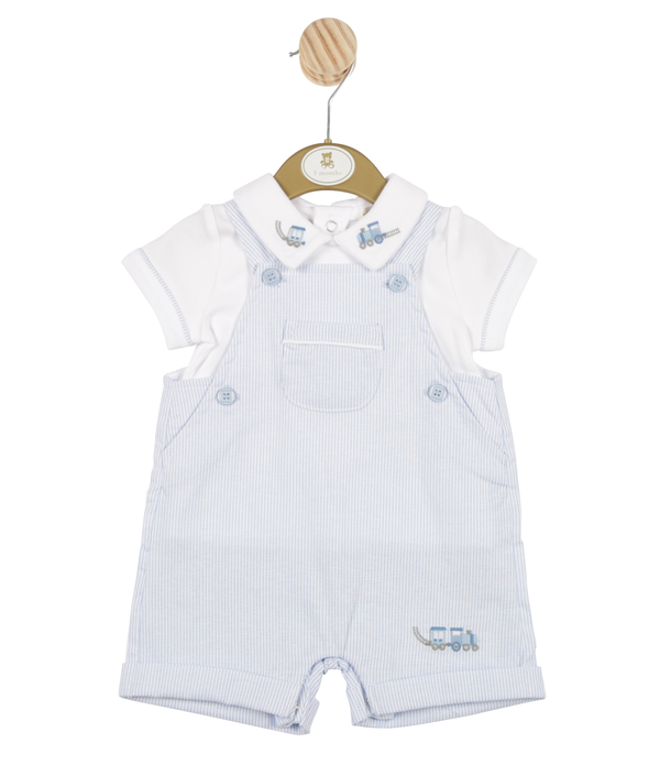 MB3314 | Boys Fine Striped Blue Top and Short Dungaree Set