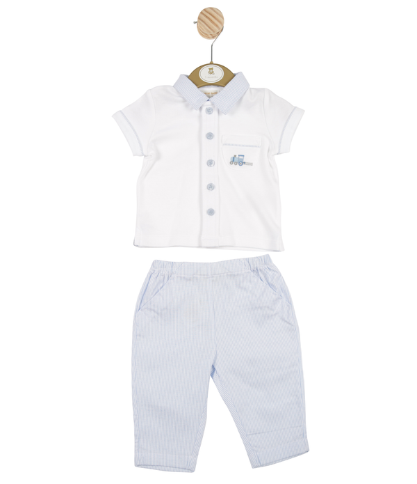 MB3315 | Boys White Tip and Blue Striped Trouser Set