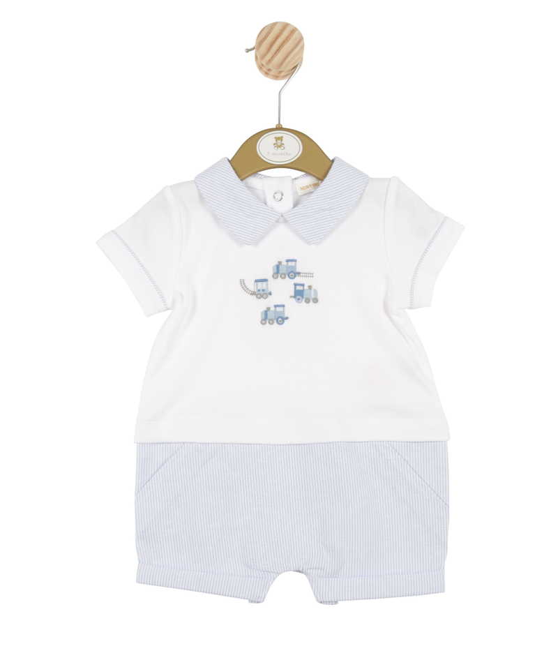 MB3316 | Boys White and Blue Romper with Train Theme