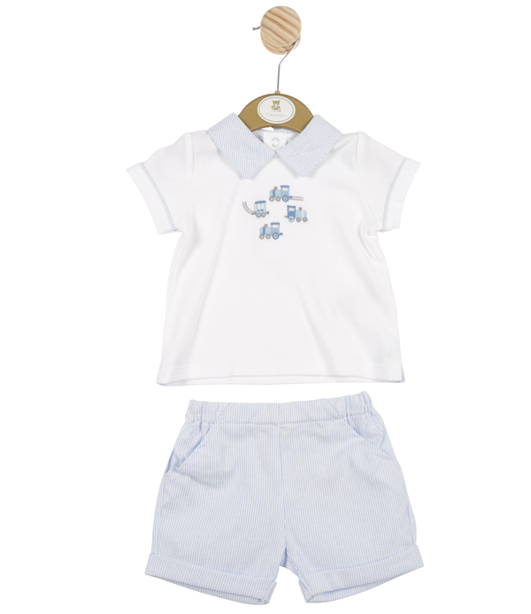 MB3317A | Boys White Top and Blue Striped Shorts Set with Train Theme