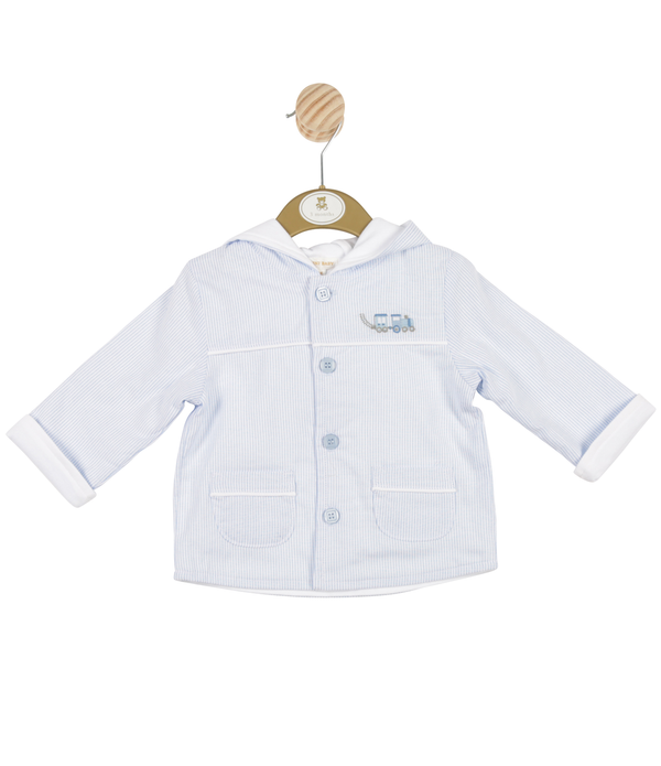 MB3318A | Boys Striped Blue Hooded Jacket with Train Theme