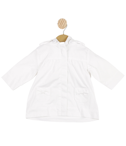MB3329A | Girls White Coat with Bow Pockets