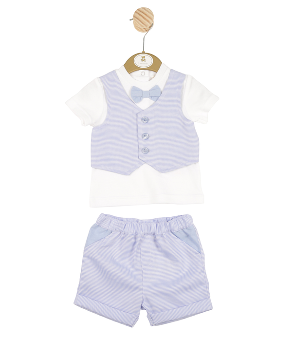 MB3333A | Boys Blazer Shirt and Blue Shorts Set with Bow Tie