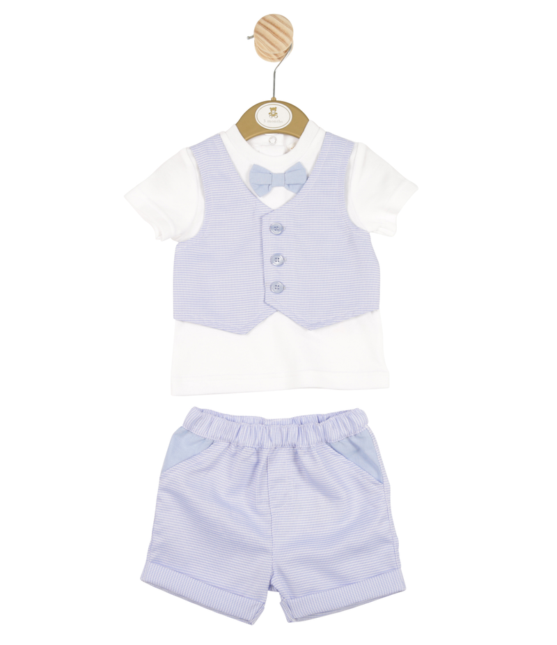 MB3333 | Boys Blazer Shirt and Blue Shorts Set with Bow Tie